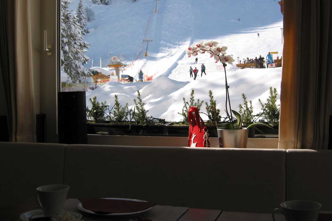 View from the breakfast room onto the slopes