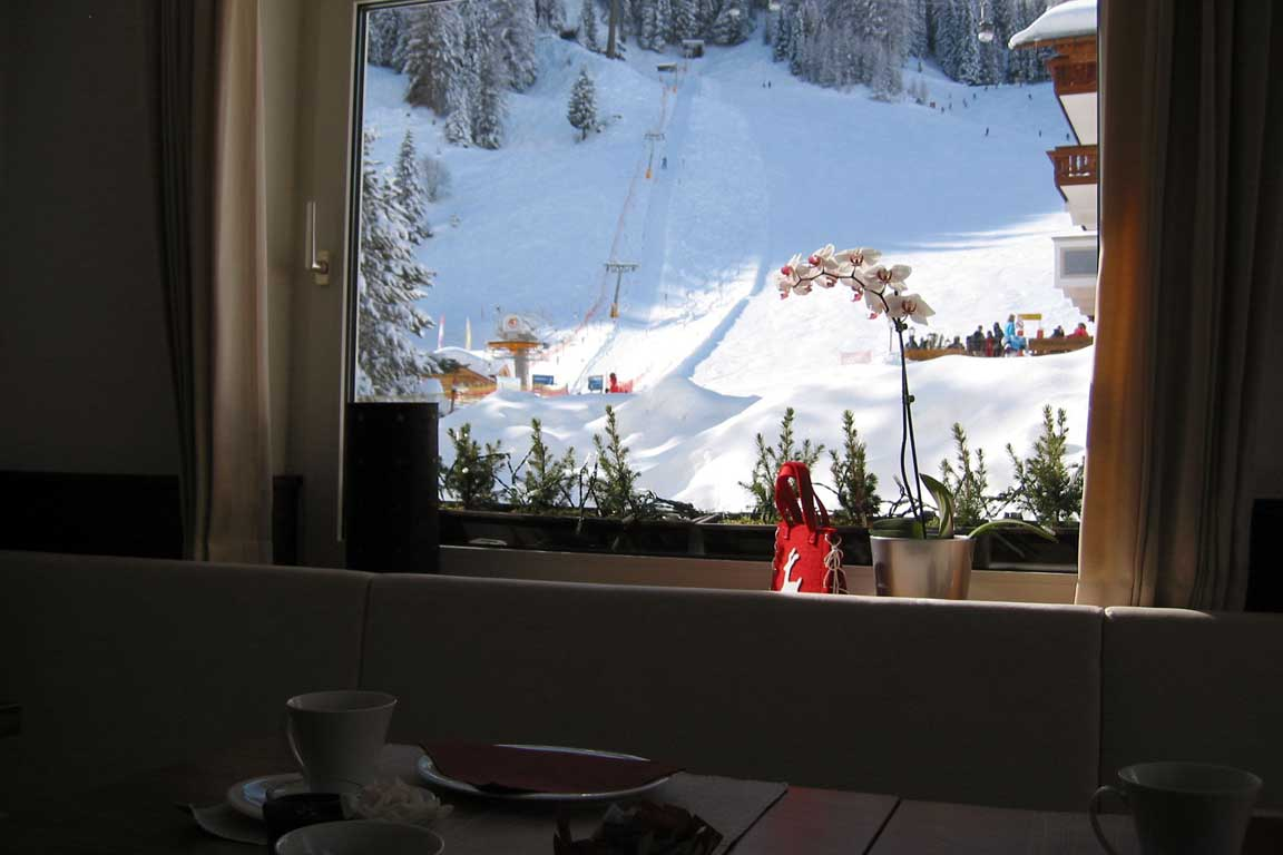 View from the breakfast room towards the ski slopes