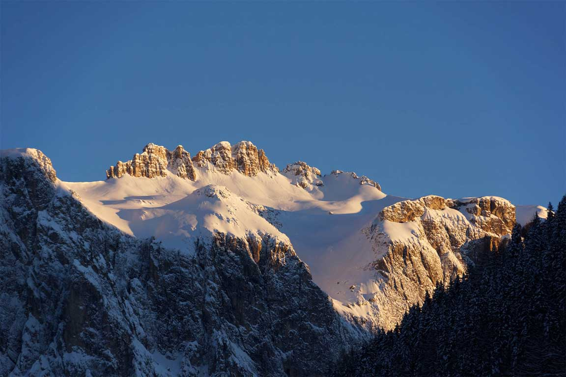 Sella group (mountain range in the Dolomites) in winter