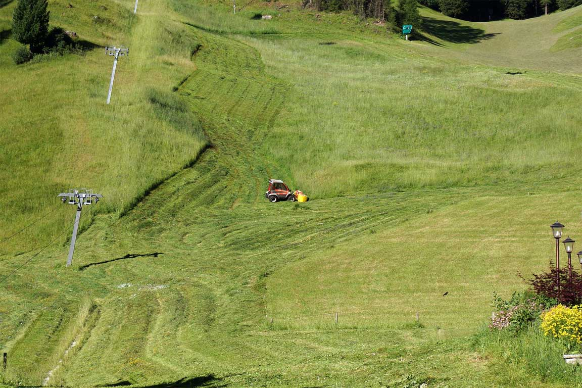 Farmers when mowing the lawn in front of the Garni Hotel Arya Alpine Lodge