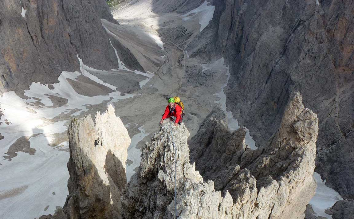 Climbing in the Sassolungo mountain range, Dolomites