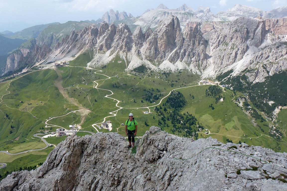 Climbing in the Sella group, a mountain range in the Dolomites