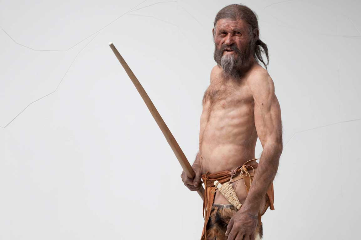Ötzi Iceman reconstruction in Bolzano