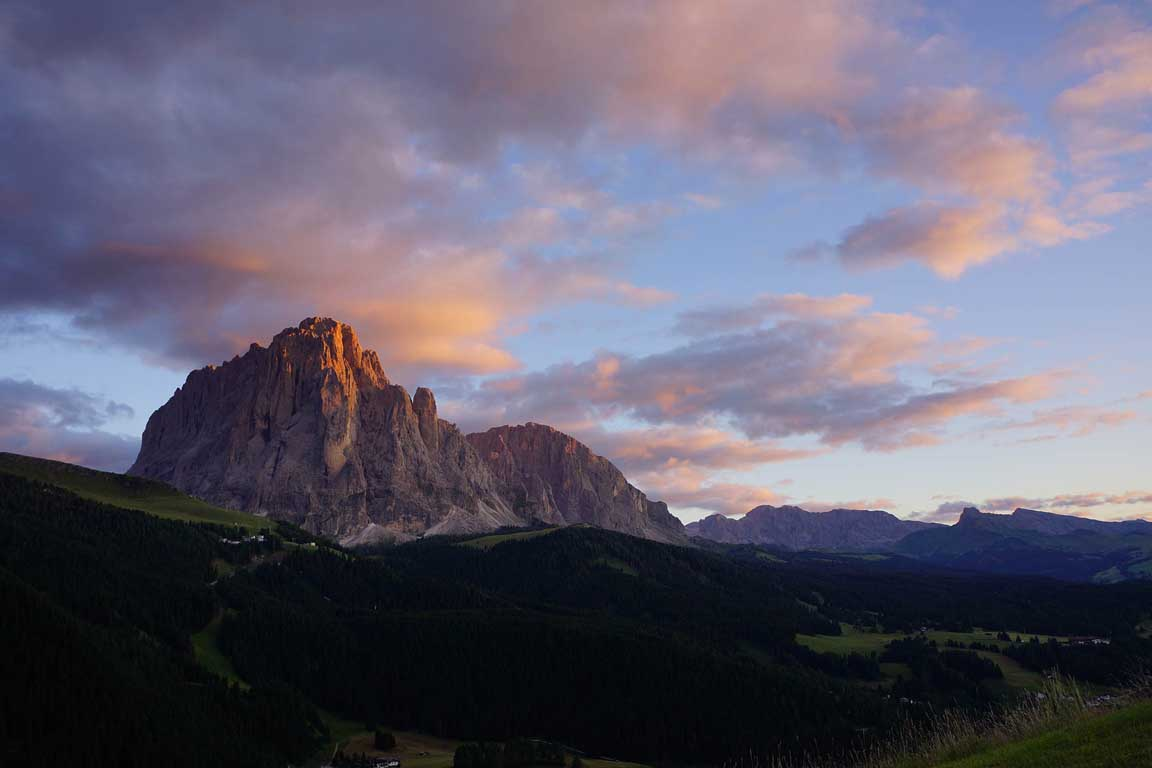 Sassolungo at sunset in Val Gardena