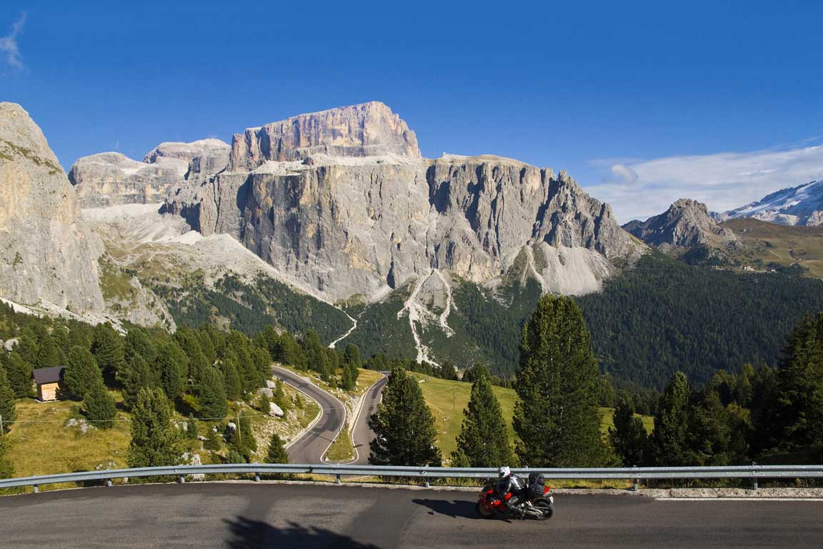 Motorbike route around the Sella group, a mountain range in the italian Alps