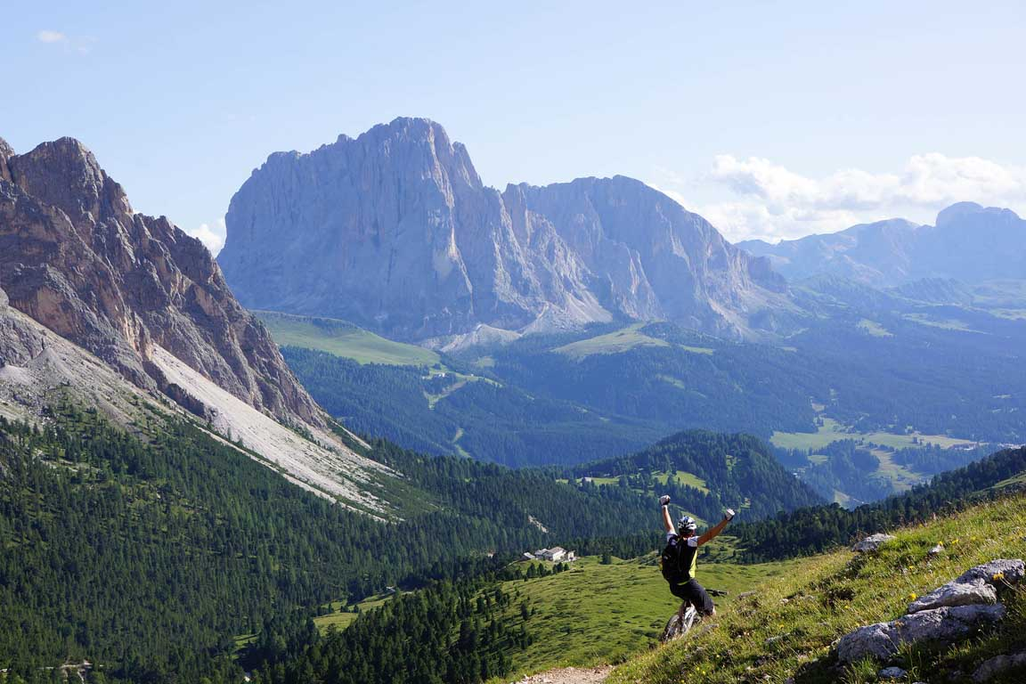Mountain bike Route Seceda Juac Hut Selva Gardena