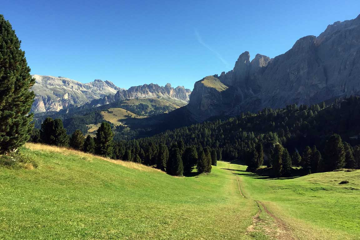 View from Passo Sella towards Stevia, Pizes de Cir, Sella Group in autumn