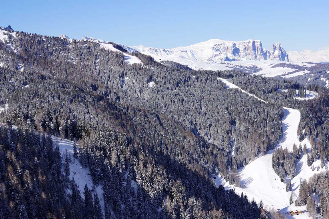 Ski slope Ciampinoi 3 to the Garni Hotel Arya Alpine Lodge in Selva Val Gardena
