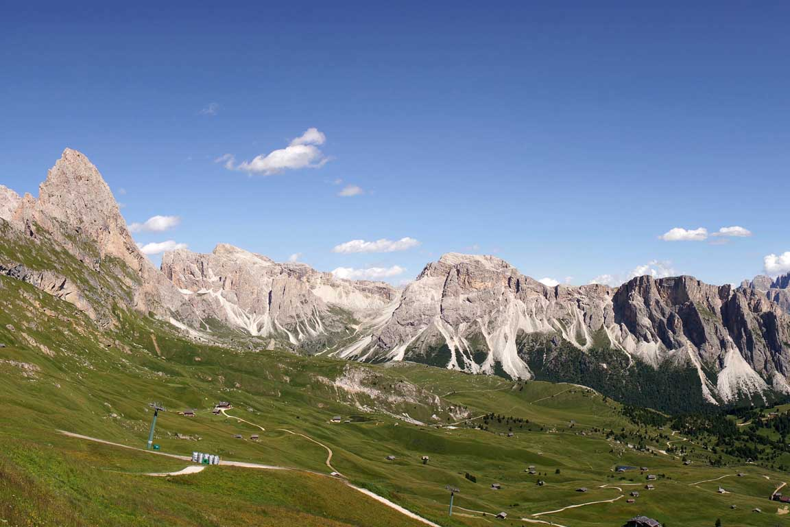 Walking on beautiful paths on Seceda, Odle, Stevia in Val Gardena