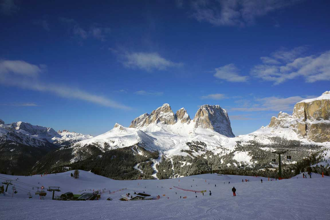 Sellaronda: View from Belvedere towards Sassolungo and Passo Sella