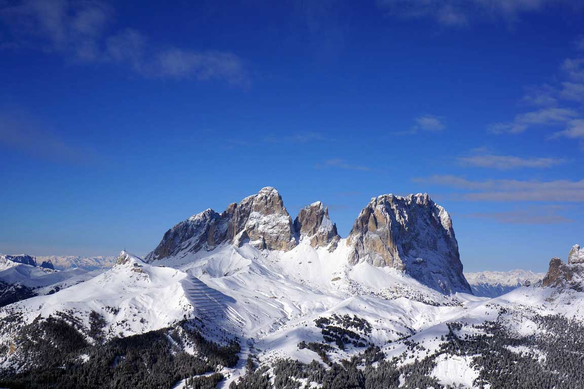 Sella Ronda: View from Belvedere towards Sassolungo and Passo Sella