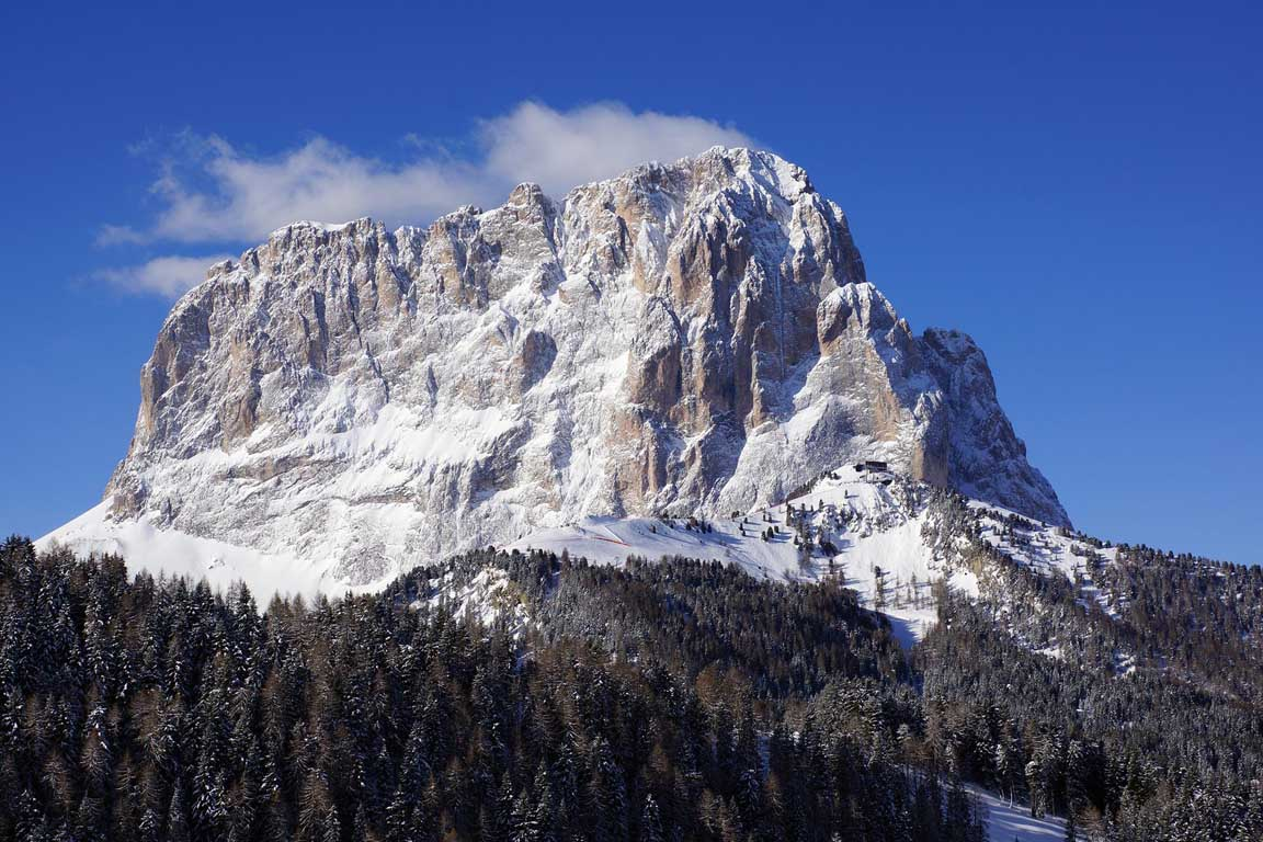 Skiing at Easter in Val Gardena Dolomites Italy