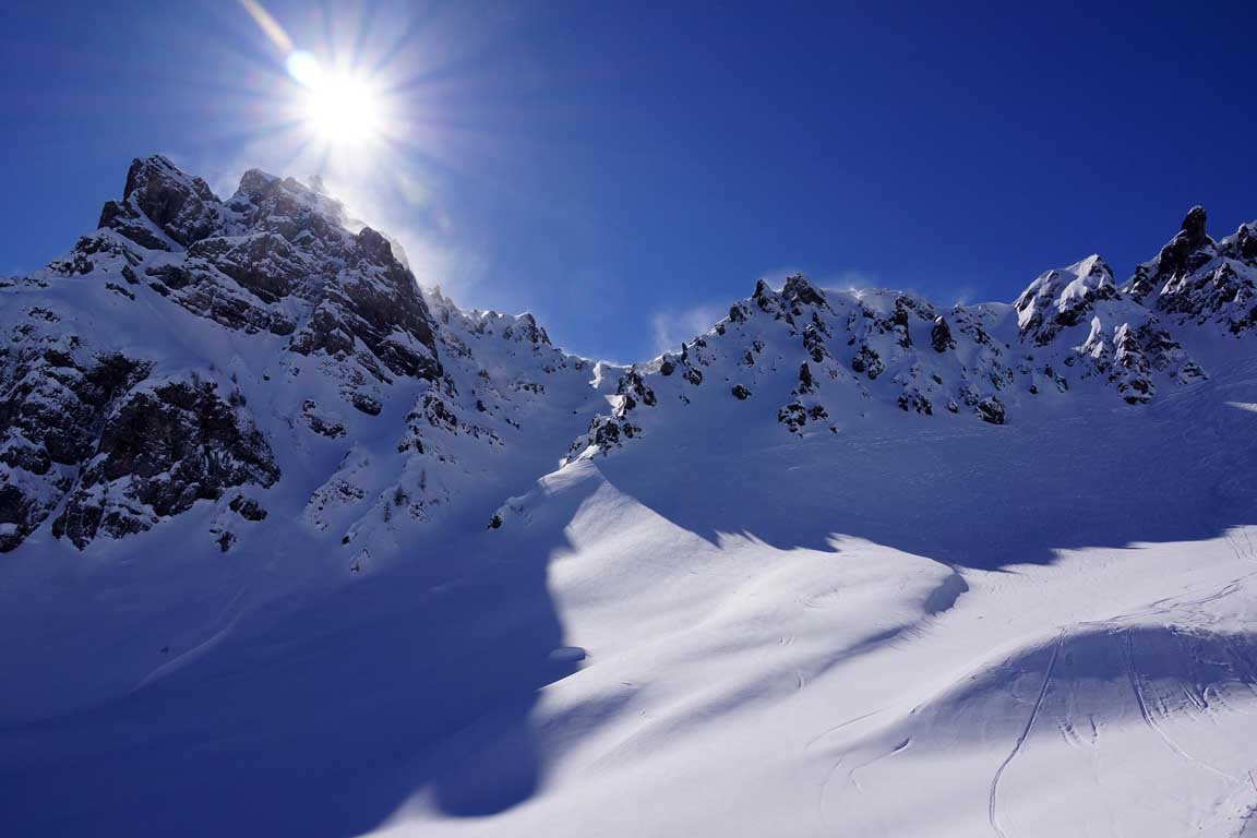 Skiing in march in the Dolomites to Marmolada