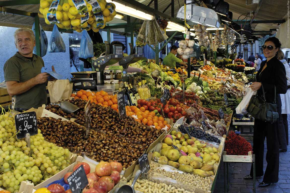 Fruit market in Bolzano, South Tyrol, Italy