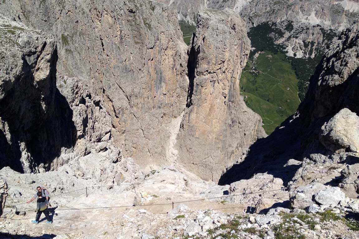 Hiking trail/via ferrata in the valley Setus, Sella group, Dolomites