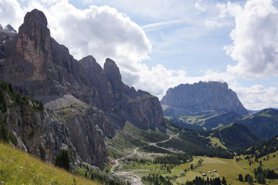 Walking holidays in Italy, Dolomites - View to Sassolungo