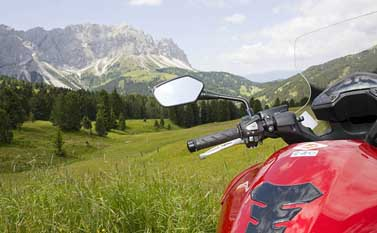 Motorbiker in the Dolomites