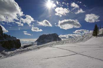 Skiing in march in the Dolomites Italy